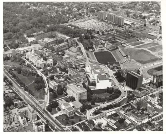 Aerial of Campus, 1970s