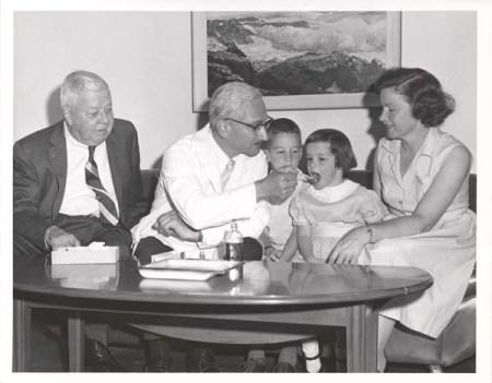 Sabin administering the oral polio vaccine