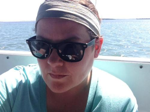 Julie enjoying time on a boat in the Cumberland Sound, Florida.