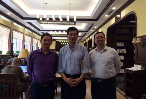 Blog-With CQU Library council chair Dr. Xiaodong Peng and director Mr. Xinya Yang in front of reading room
