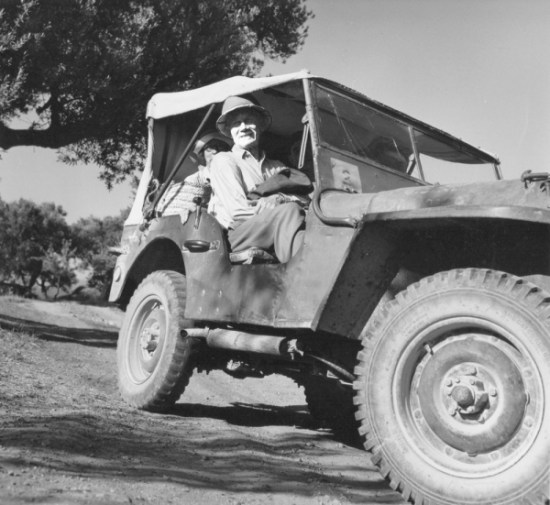 Carl Blegen with UC Archaeologist Marion Rawson in the Land Rover at Pylos, July 1961