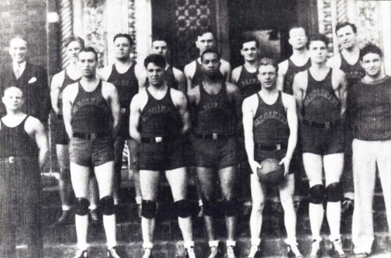 Basketball Team 1934 including first African American player, Chester Smith