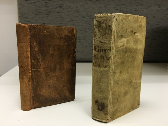 Two of the oldest books in the Winkler Center: Carre's Pietas Parisiensis to the left, and Ciucci's Il Filo D'Arianna to the right