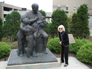 At the Albert Sabin memorial at Children's Hospital, 2010. Courtesy of the Winkler Center for the History of the Health Professions, University of Cincinnati, Cincinnati, Ohio