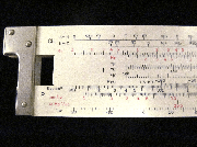 Closeup of part of the Ch scale for the circa 1960 Hemmi 257 chemical slide rule.