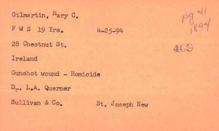 Mollie Gilmartin Death Certificate