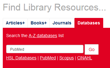 Image of the library website database search box