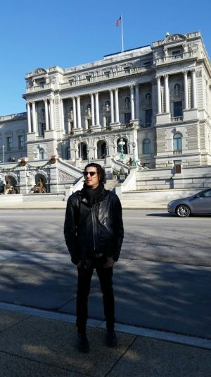 Christian standing in front of the Library of Congress.