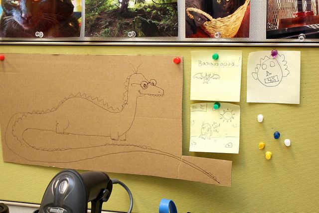 Doodles on bulletin board.