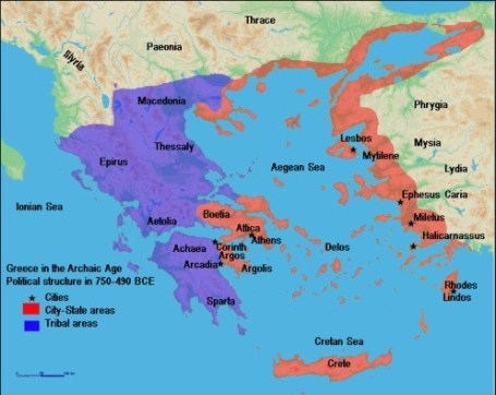 Map of Ancient Greece, Archaic period (750-490 BCE)