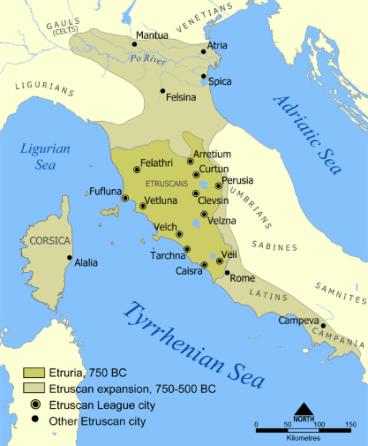Map of Etruscan Civilization (c. 900-3rd century BCE)