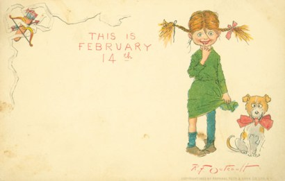 "Postcard with the words ""This is February 14"" showing a girl and a dog"