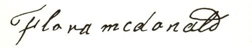 Handwritten text that says Flora McDonald