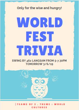 WordFest trivia night fposter