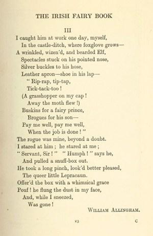 Leprecaun poem from The Irish Fairy Book