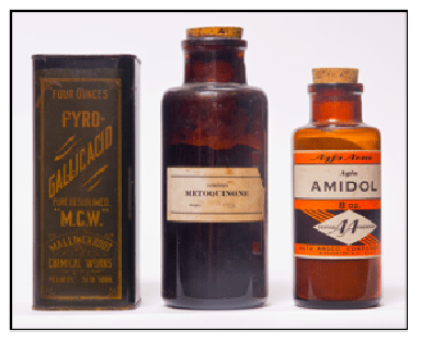 Containers of typical photographic developing agents spanning the period 1839-1892.