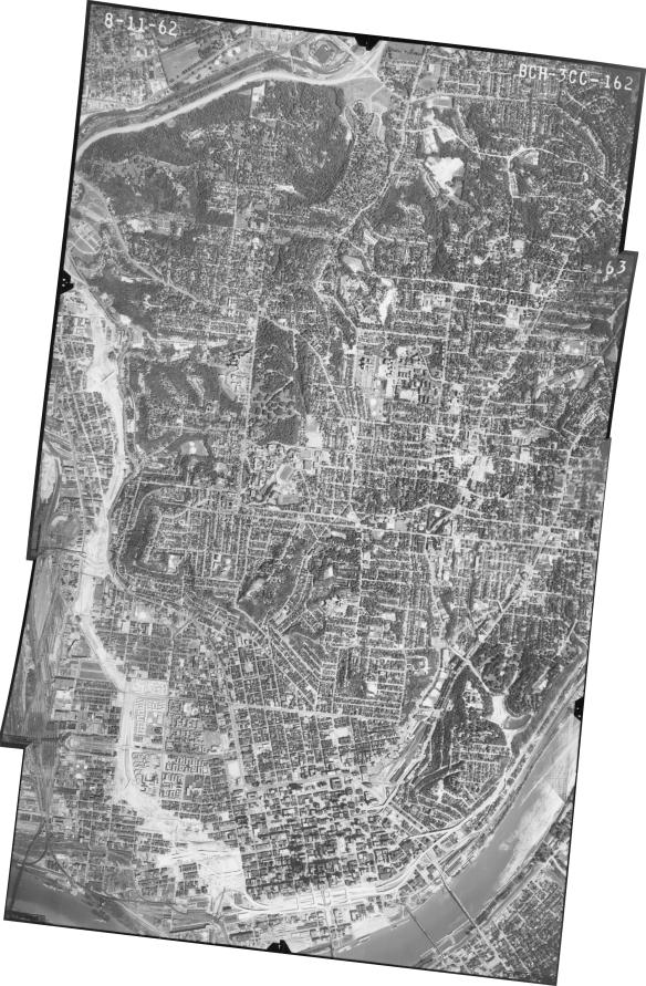 aerial imagery of Cincinnati from 1962