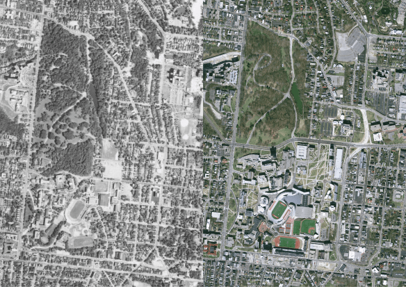 side by side aerial imagery of the UC campus from 1962 and from 2007