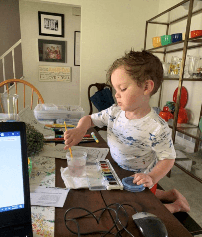 Jackson working on an art project