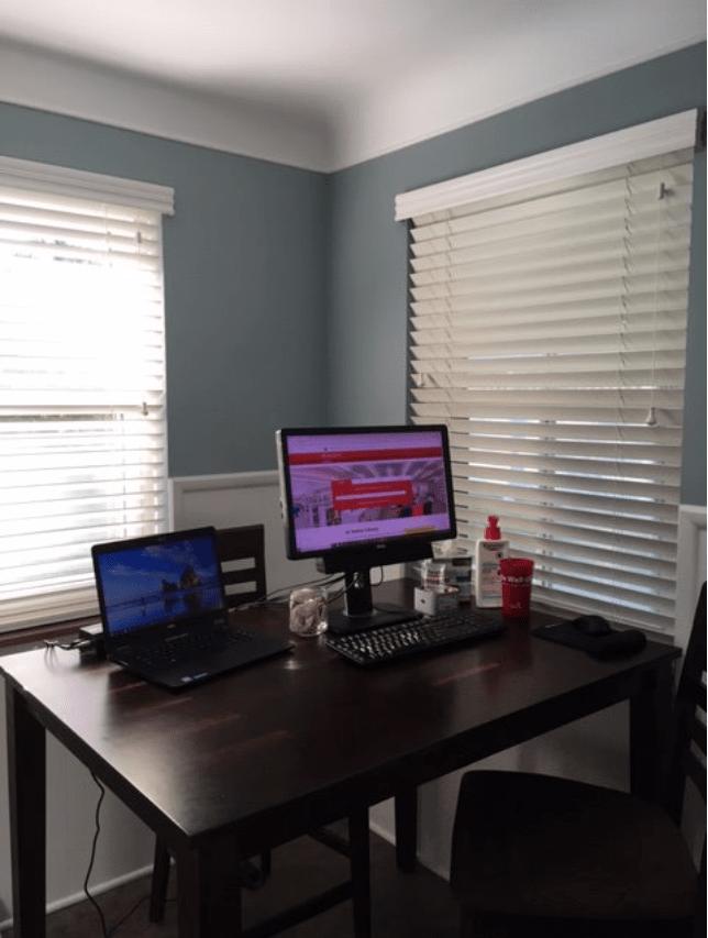 workspace on kitchen table