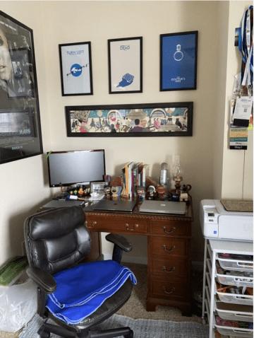 Kellie's home workspace