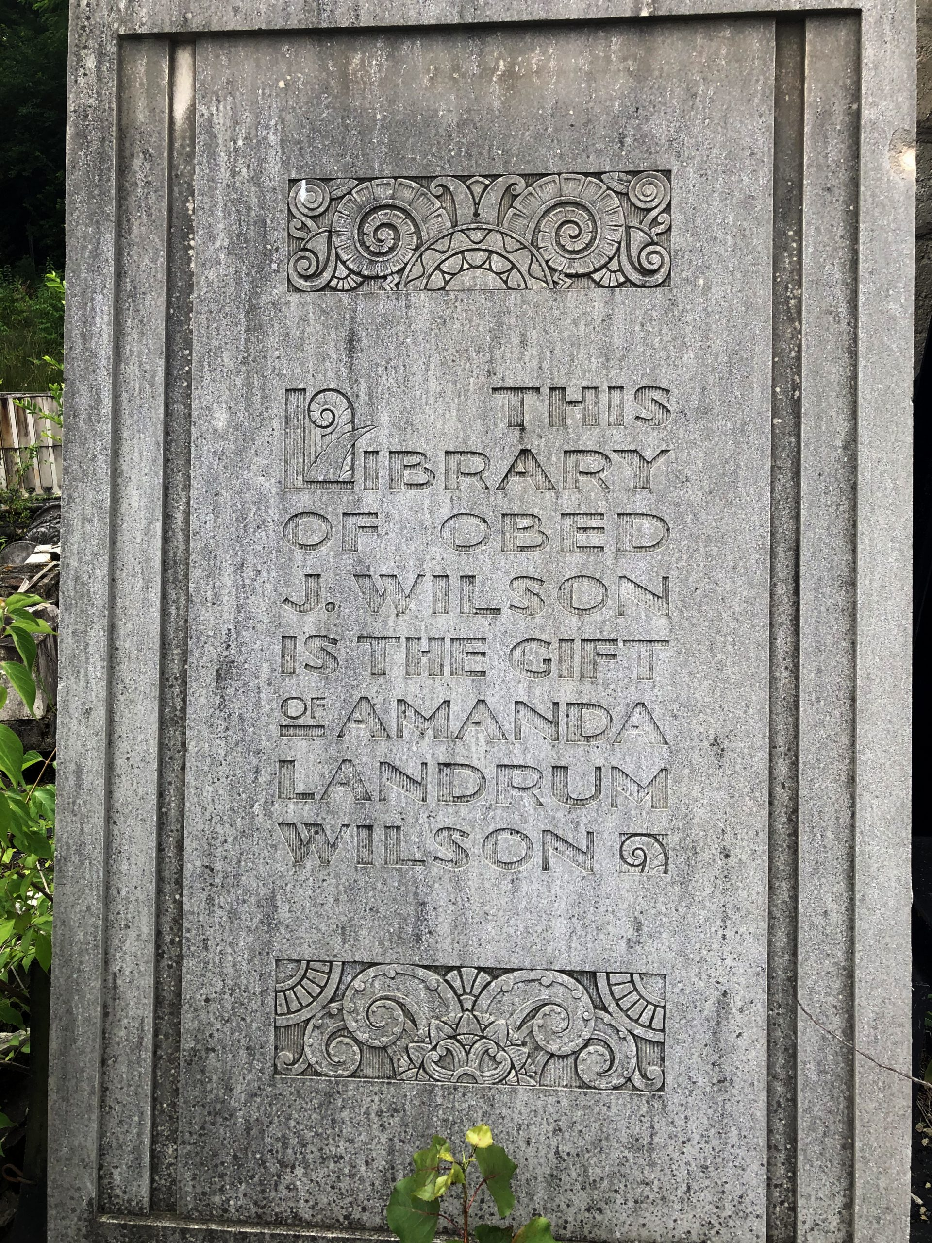 fishwick relief that reads this library of obed j. wilson is the gift of amanda landrum wilson