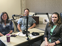 Photo of Maria Ansley, Dr. Kevin Calder, and Lydia Howes while recording the podcast.
