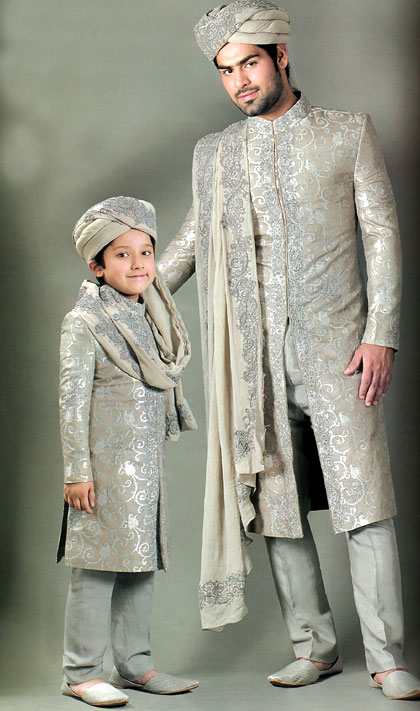 Pakistani Silver Sharwani Cream