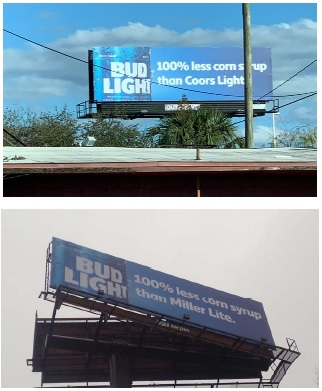 MillerCoors v Anheuser Busch Lawsuit photograph of Corn Syrup ad billboards l in complaint