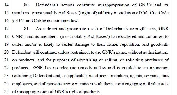 Guns N Rose complaint allegations