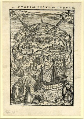 Ambrosius Holbein, illustration on page 12 of Thomas More's Utopia woodcut and letterpress 1518 Printed by Johann Froben in Basel