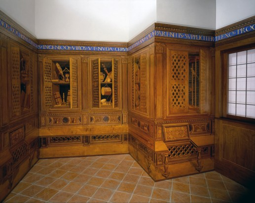 Studiolo from the Ducal Palace in Gubbio, designed by Francesco di Giorgio Martini, executed in the workshop of Giuliano da Maiano and Benedetto da Maiano, ca. 1478-82, Walnut, beech, Rosewood, oak and fruitwoods in walnut base. 15ft, 10 15/16 in. x 16 ft, 11 15/16 in. x 12 ft., 7 3/16 in. MMA 39.153
