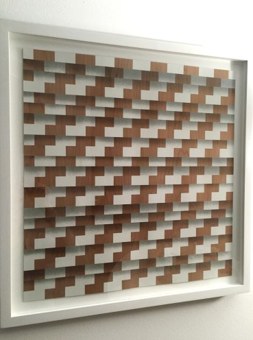 Suzanne Song, Reset, 2009, 2-color silkscreen on cherry wood veneer, 19 x 18 ½ inches Published by Forth Estate Editions