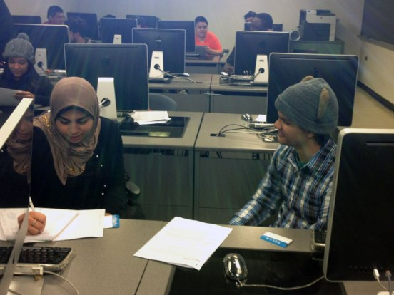 Students interviewing each other at City Tech