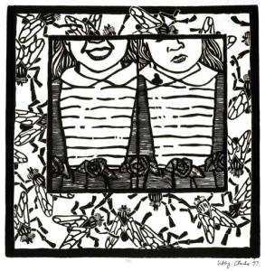 My first linocut masterpiece, 1993: It was a heady meditation on vanity and impending mortality...