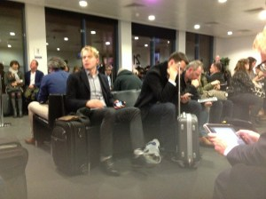 Mostly Dutch people waiting to fly to the Netherlands