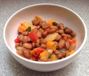 Sweet potatoes and onions with pinto beans