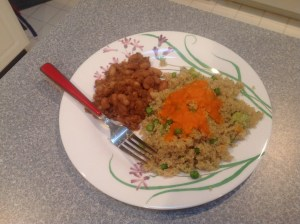 Mayocoba beans, quinoa, veggies, and red bell pepper sauce