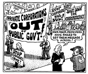 Protestors against corporate involvement in government are not being heard