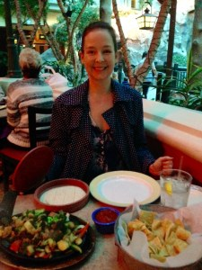 Plibby with Veggie fajitas at Willy & Jose's Cantina