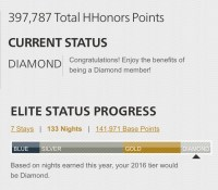 Hilton HHonors Diamond elite status for staying in Hilton Hotels