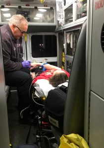 Libby in ambulance
