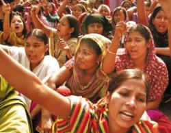 Female garment workers in sit-down demonstration