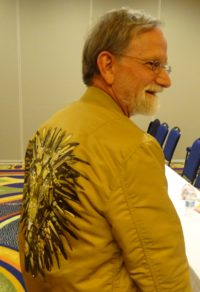 Marshall Breeding wearing Eric Chan's jacket
