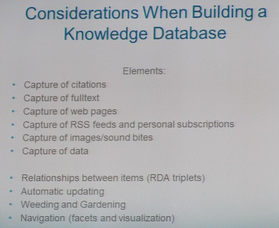 Considerations in Building a Knowledge Database