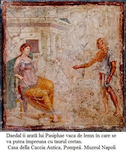 10.4.2.1 Daedal îi arată lui Pasiphae vaca de lemn în care se va putea împreuna cu taurul cretan. Casa della Caccia Antica, Pompeii. Muzeul Napoli