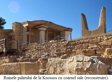 10.4.4.1 Ruinele palatului de la Knossos păstrând simbolul coarnelor (reconstruire).