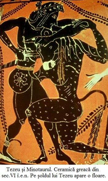 10.6.7.00 Tezeu şi Minotaurul. Ceramică greacă din sec.VI î.e.n. Pe şoldul lui Tezeu apare o floare