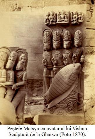 13.2.10.01 Peștele Matsya ca avatar al lui Vishnu. Sculptură de la Gharwa (Foto 1870).