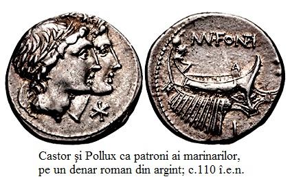 14.2.4.1 Castor şi Pollux ca patroni ai marinarilor, pe un denar roman din argint; c.110 î.e.n.